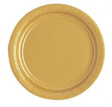 "16 Gold Paper Party Plates 9""/23cm"